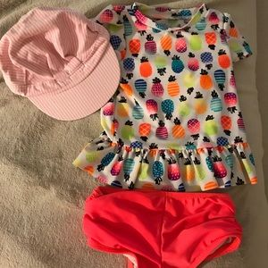 Swimsuit and summer hat